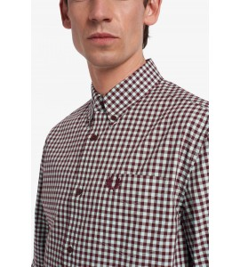 Fred perry Gingham Long sleeve Shirt col. bordeaux/celeste