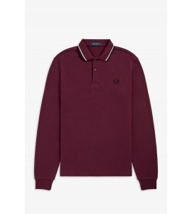 Fred Perry Ls Twin Tipped Shirt Bordeaux